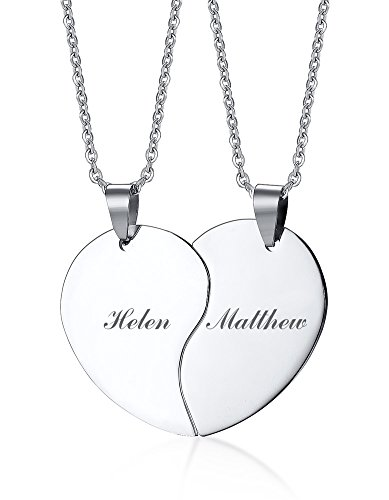 PJ Stainless Steel Personalized Custom Engraved Name Puzzle Heart Matching Necklace Set for Couples