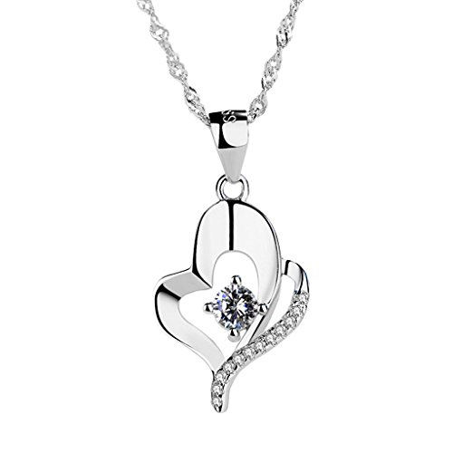 Silver Necklace Elegant Peach Heart Zirconium Drill Pendant Short 925 Clavicle Chain Jewelry for Girls ()