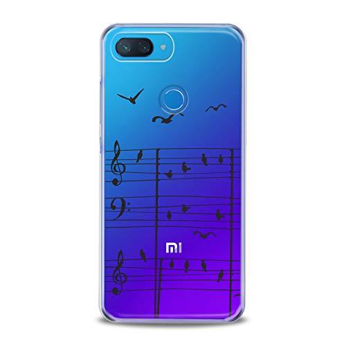 (Lex Altern Xiaomi Mi A2 A1 Note 3 TPU Case 8 SE Lite Mix 2s 5X 6X 8X Musician Melody Poetic Art Black Simple Clear Cover Silicone Contour Birds Protective)