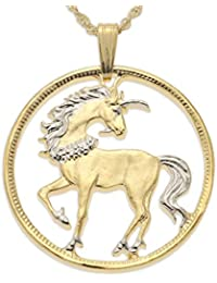 Unicorn Pendant and Necklace, Chinese Coin Hand Cut, 14 Karat Gold and Rhodium Plated, 1