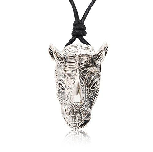 (Vietguild Rhino Head Rhinoceros Wildlife 92.5 Sterling Silver Necklace Pendant Jewelry)