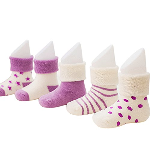 VWU Baby Thick Cuff Cotton Socks 5-pack 7 Color Available Purple 1-3 years old