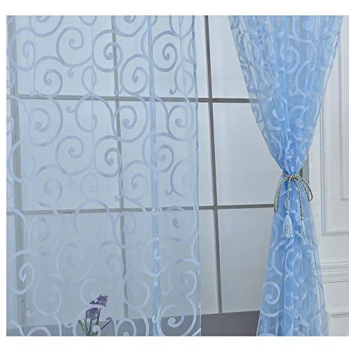 78.74x39.37 Inch 2 Panels Floral Scarf Sheer Voile Door Window Curtain Drape Panel Tulle Valances Divider Window Treatment Valance Fabric Window Covering For Bedroom Livingroom Bathroom (Scarf Window Coverings)