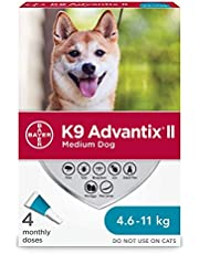 K9 Advantix II Flea and Tick Treatment for Medium Dogs weighing 4.6 kg to 11 kg (10 lbs. to 24 lbs.) - 4 pack