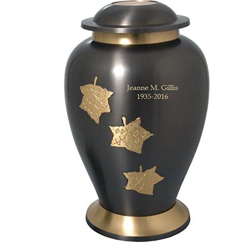 Engravable Urns (Engravable Full-Size Adult Falling Leaves Brass Cremation Urn (Engraved)