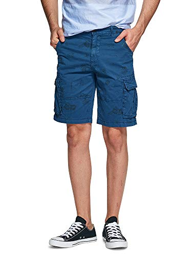 Cargo Slant Pockets Shorts - OCHENTA Men's Lightweight Multi Pocket Casual Cargo Shorts Solid A Blue US 31 - Tag 33