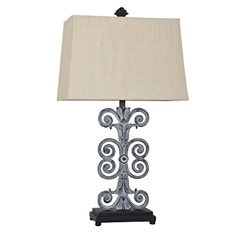 Antique Iron Table Lamp with Spiral ()