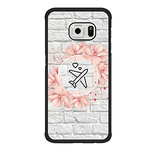 Skinsends Hippie Flight Attendant Plane Floral Love Back Cover Compatible with Samsung S6 Edge, Hard Plastic Protective Shell Compatible with Samsung Galaxy S6 Edge]()