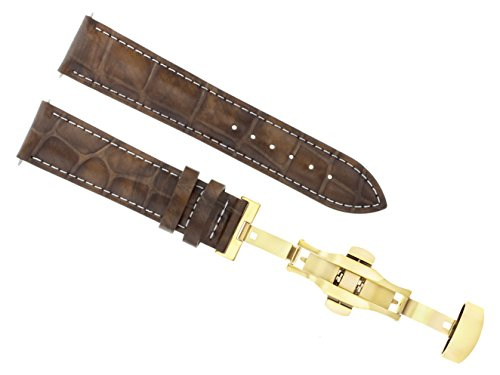 24MM Leather Strap Watch Band Deployment Clasp for LONGINES L/Brown WS 3B Gold