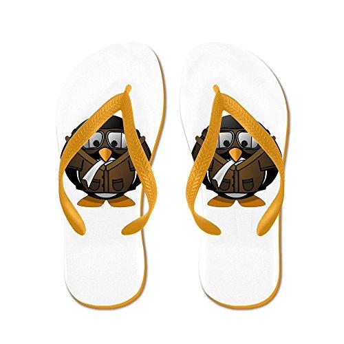 Echt Teague Heren Kleine Ronde Pinguïn - Vliegtuig Jet Pilot Rubber Slippers Sandalen Oranje