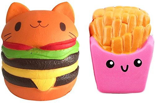 Price comparison product image Jumbo Slow Rising Squishy Cat Hamburg with French Fries Perfect Match by EDCMaker