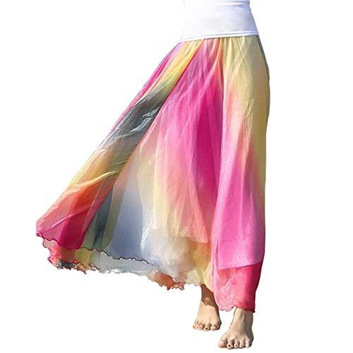 (OCHENTA Women's Giant Swing Full Circle Skirt Flowing Maxi Skirt Rainbow XL)