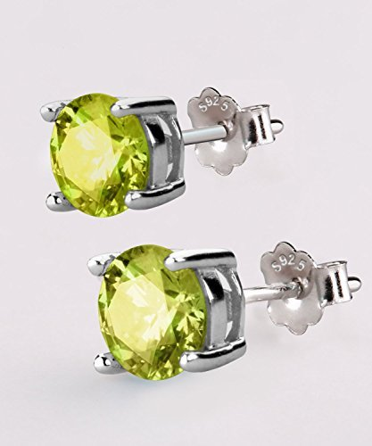 UHIBROS Sterling Silver Birthstone Stud Earrings Round Cubic Zirconia Diamond August Gifts