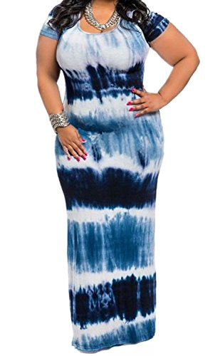 Womens Plus Size Color Block Tie Dye Stripes Boho Summer Beach Long Maxi Dresses Blue XL