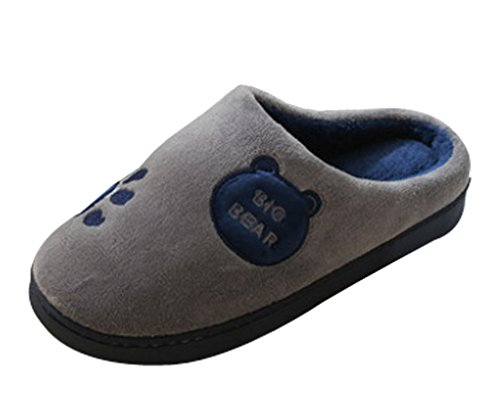 Cattior Mens Coral Warm House Shoes Furry Slippers Gray L4WQc3