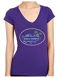 TYBEE ISLAND Rhinestone/stud Womens T-Shirts