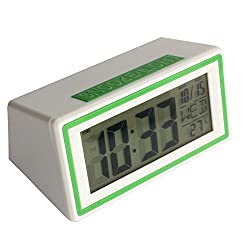 Mikey Store LED Electronic Desktop Digital Alarm Clock Large Display (Green)