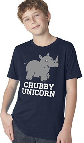 Youth Chubby Unicorn Tshirt Funny Cute Adorable Rhino Jungle Animal Tee (Navy) S by Crazy Dog T-Shirts
