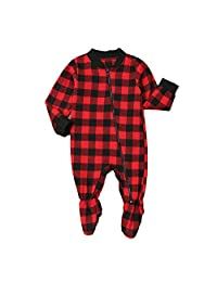 MAINESAKA Baby Plaid Jumpsuit Outfit Coat Winter Cotton Infant Rompers Pajamas