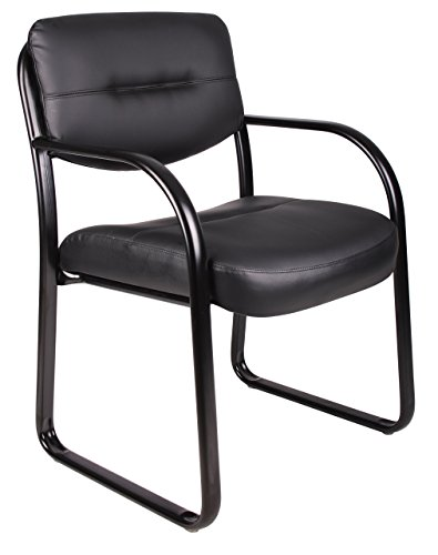Boss Office Products B9529 Leather Sled Base Side Guest Chair, Black