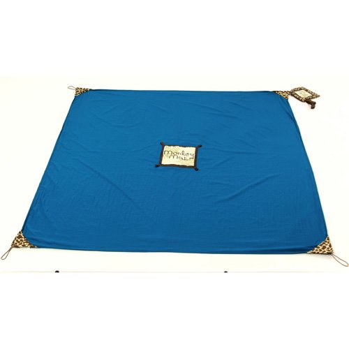 Monkey Mat Portable Lightweight Indoor Outdoor 5X5 Water Sand Repellent Blanket With Corner Weights   Loops In Compact Pouch  Blue Yonder