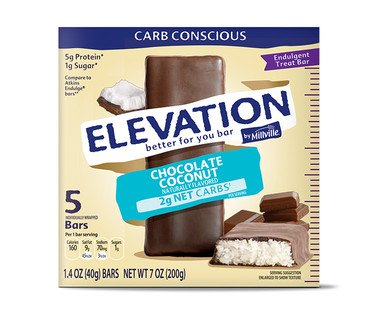 Elevation by Millville Chocolate Coconut Endulgent Bars 7oz(1.4oz x 5 bars) , pack of ()