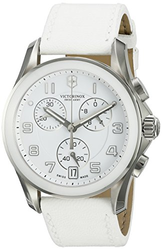 - Victorinox Swiss Army 241500 Chrono Classic Watch with White Dial and White Leather Strap