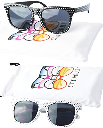 Kd3006 infant baby Toddlers Age 0-36 Months retro 80s Sunglasses 0-2 years old (2-pack Polka dots Black&Polka dots White)]()