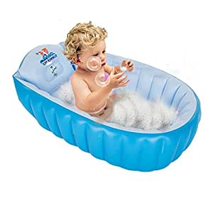 GreenSun Portable Inflatable Baby Bathtub Mini Non Slip Air Swimming Pool Kid Infant Toddler Thick Foldable Shower Basin with Soft Cushion Central Seat For 0-3 Years Baby