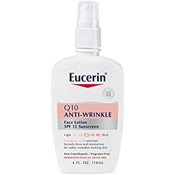 Eucerin Sensitive Facial Skin Q10 Anti-Wrinkle Sensitive Skin Lotion, Broad Spectrum SPF 15, 4 Ounce (Pack of 2)
