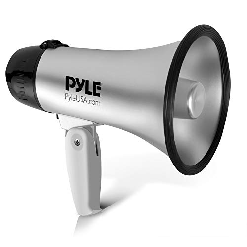 Portable Megaphone Speaker Siren Bullhorn - Compact and Battery Operated with 20 Watt Power, Microphone, 2 Modes, PA Sound and Foldable Handle for Cheerleading and Police Use - Pyle PMP23SL (Silver)