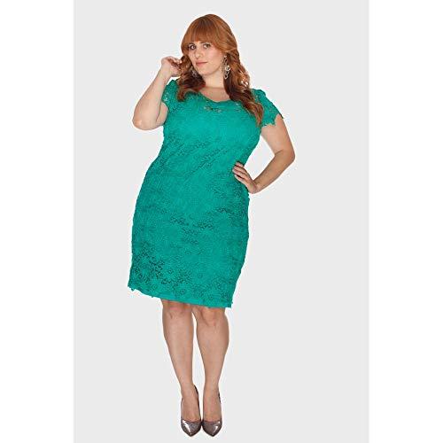 Vestido Curto Renda Plus Size Verde-50