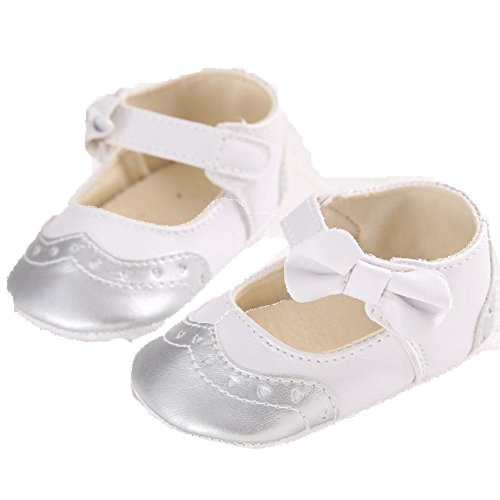 etrack-online Lovely bebé niña Mary Jane Piel Sintética Lazo suave soled zapatos de cuna plateado Talla:12-18months plateado