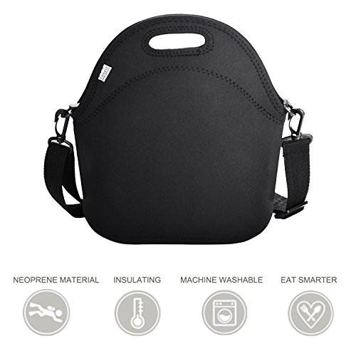 Lunch Bag, Coofit Neoprene Picnic Lunch Tote with Strap Insulated Lunch Box Food Container School Supplies Insulated Lunch Bag for Women