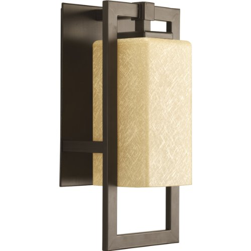 Bronze Amber Glass Lantern (Progress Lighting P5948-20 Jack One Light Outdoor Sconce, Antique Bronze Finish with Etched Umber Flax)