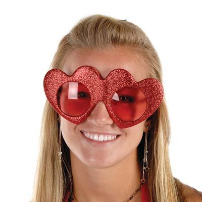 Beistle 70363 Glittered Heart Fanci-Frames Party Favors, 1 Per - Valentines Sunglasses