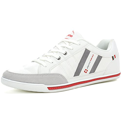alpine swiss Mens Stefan White Suede Trim Retro Fashion Sneakers 11 M - White Alpine Fabric