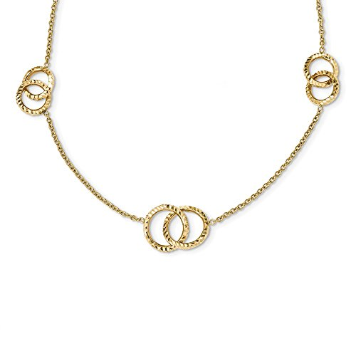 3/4 Inch Circle Charm Necklace - 14k Yellow Gold Interlocking Circles .75in Extension Chain Necklace Pendant Charm Fancy Bead Station Fine Jewelry Gifts For Women For Her