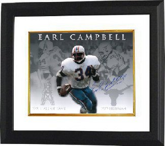 Athlon CTBL-BW15816 Earl Campbell Signed Houston Oilers-Texas Longhorns 16 X 20 Photo Custom Framed Career Collage - Heisman-Hof