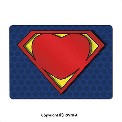 (Office and Home Waterproof Coated Mouse pad,My Super Man Shield Logo with Heart Figure Valantines Romance Print(9.8