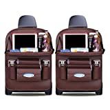 Ergocar Car Back Seat Organiser Kick Mats Luxury PU Leather with Foldable Tablet Holder Car Organisers Car Storage Multi-Function Back Seat Protector for Long Trip and Family (Mocha - 2 Pack)