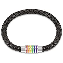 BodyJ4You Men Bracelet Braided Leather Braided with Magnetic Clasp Stainless Steel Clasp