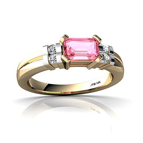 Gold 6x4 14kt Emerald (14kt Yellow Gold Lab Pink Sapphire and Diamond 6x4mm Emerald_Cut Art Deco Ring - Size 6.5)