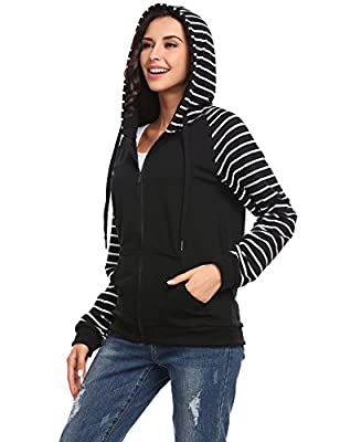 OD'lover Women Lightweight Zip-Up Casual Striped Long Sleeve Hooded Sweatshirt Jacket