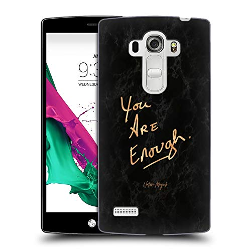 Official Nature Magick Bronze Black Marble You are Enough Quote On Marble Hard Back Case Compatible for LG G4 Beat / G4s / G4 s / H735