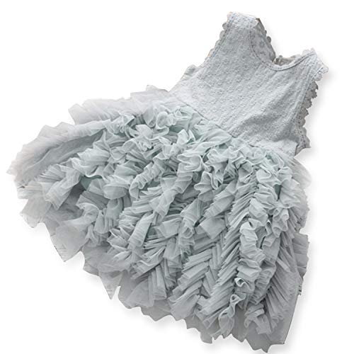 NNJXD Little Girl Tutu Dress Tulle Ruffles Flower Girls Wedding Party Dresses 6-7 Years Size (130) Gray