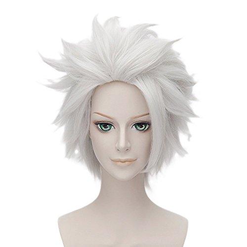Anogol Hair Cap+ Layered Silver Bleach Cosplay Wig Hitsugaya Toushirou DM-509