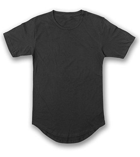 (JD Apparel Men's Hipster Longline Drop Cut T-Shirts XL Black AM1050)