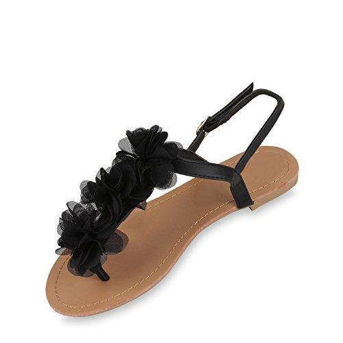 Stiefelparadies Damen Dianetten Blumen Sandalen Zehentrenner Sommer Schuhe Flats Beach Zierperlen Flandell Schwarz