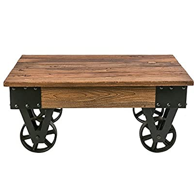 Harperu0026Bright Designs Solid Wood Coffee Table With Metal Wheels, End Table/Living  Room Set